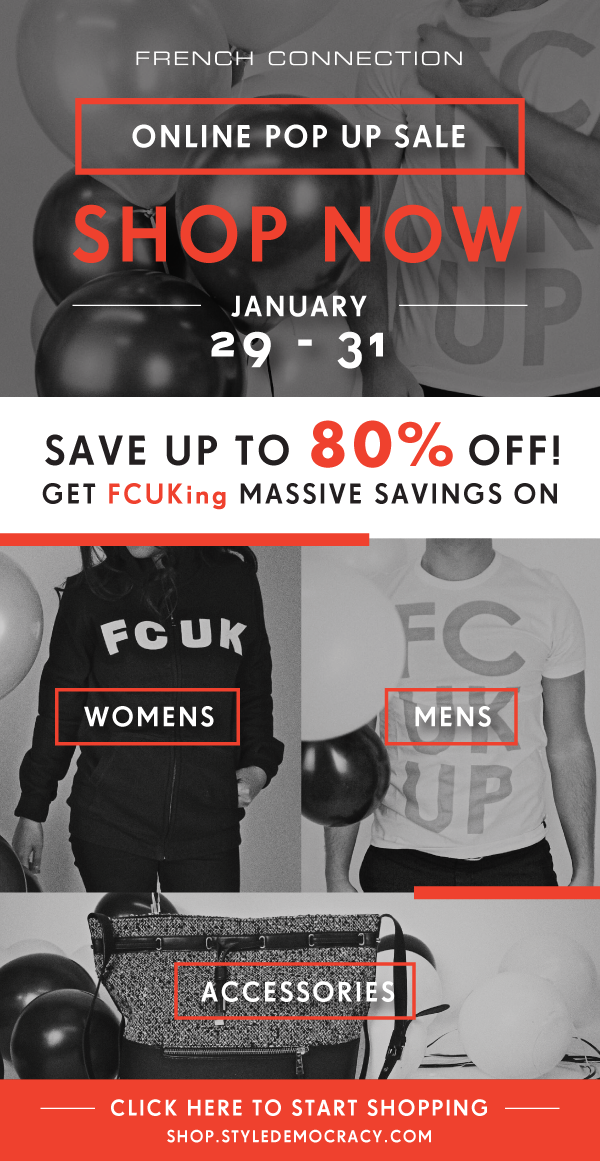 Shop Now - Up to 80% off The FCUK Online Pop Up Sale by StyleDemocracy